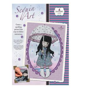 santoro gorjuss sequin art bambina con ombrello
