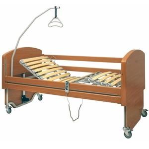 Letto elettrico Rebecca in legno dal design arrotondato, rete a doghe in legno