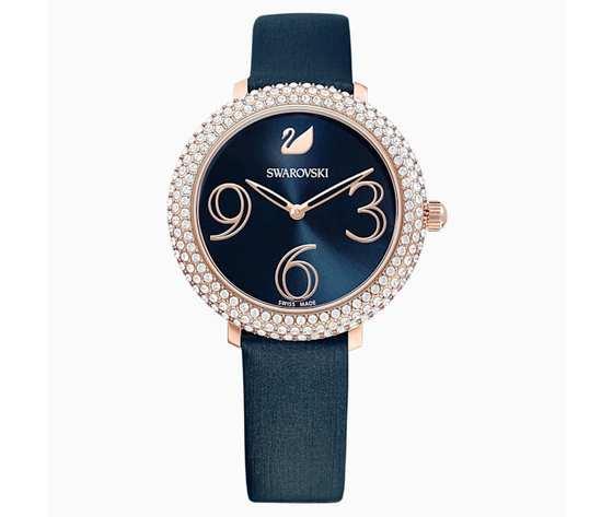 Orologio crystal frost  cinturino in pelle  azzurro  pvd oro rosa swarovski 5484061