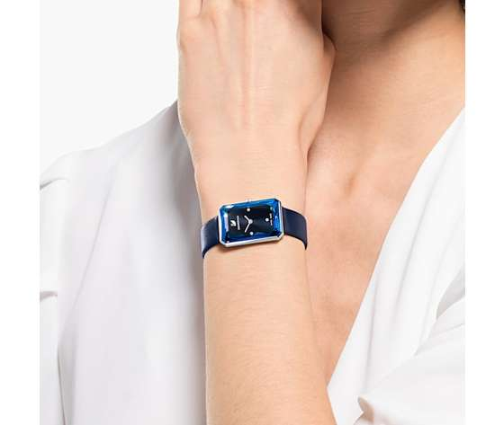 Orologio uptown  cinturino in pelle  blu  acciaio inossidabile swarovski 5547713 %284%29