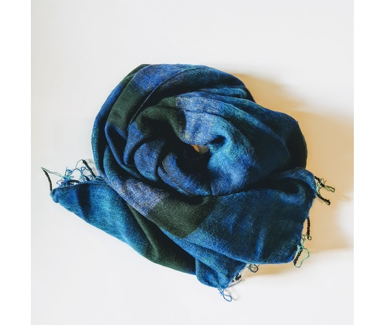 004src sciarpa lana righe cobalto
