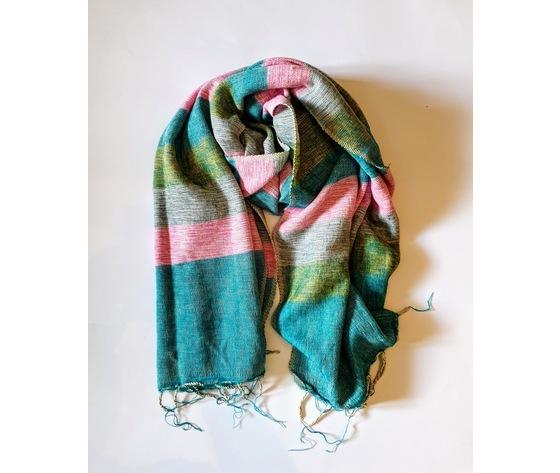 004srt sciarpa lana righe turchese