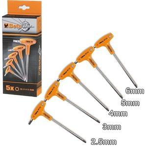Serie di 5 chiavi maschio esagonale piegate con impugnatura BETA 96T/S5P cod. 000960946