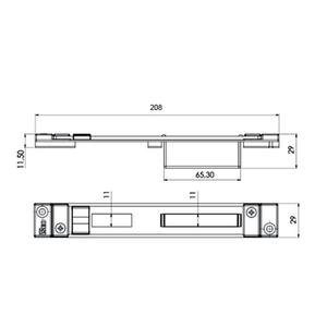 Contropiastra 29x208 mm acciaio nero chiusa regolabile per  serratura centrale PERFORMA ISEO cod. 038634