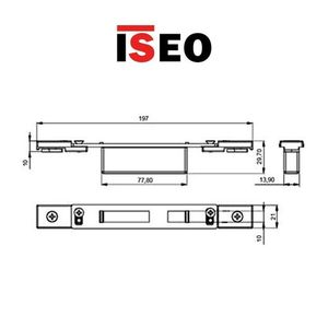 Contropiastra 22x197 mm acciaio nero chiusa  regolabile per deviatori PERFORMA ISEO cod. 038721