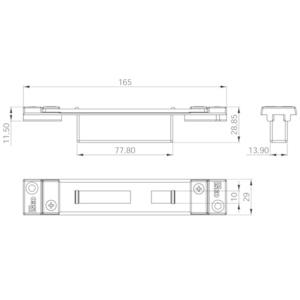Contropiastra 29x165 mm acciaio nero chiusa  regolabile per deviatori PERFORMA ISEO cod. 038724