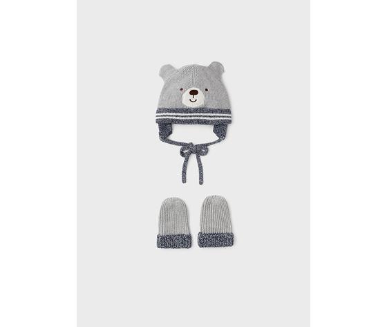 Completo cappello e manopole neonato grigio