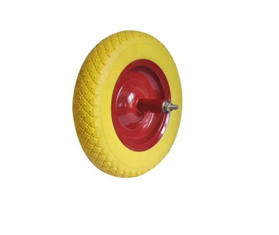 Maurer ruota piena piena in poliuretano giallo per carriola nucleo in acciaio con cuscinetto diametro mm 350 x 80