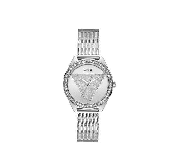 Guess watchtriglitz horloge zilverkleurig watch w1142l1 front