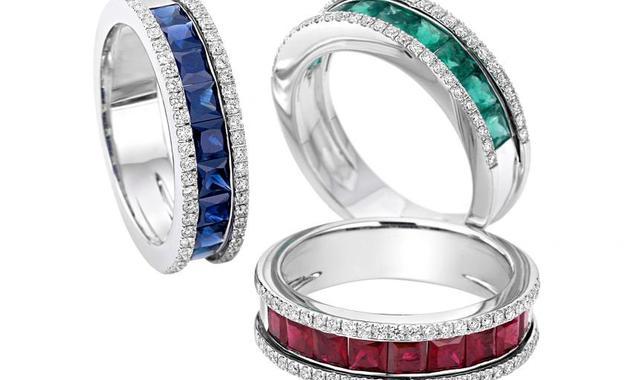 213 ab13826 anelli anello in oro bianco diamanti e pietre colore