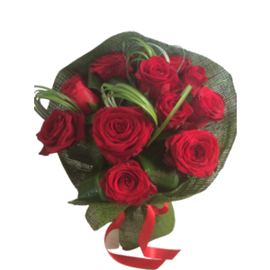 BOUQUET 12 ROSE ROSSE GAMBO MEDIO
