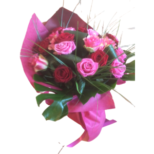mazzo 18 red & pink roses