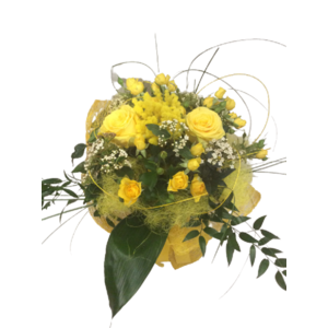 BOUQUET ROSE ROSELLINE E MIMOSE