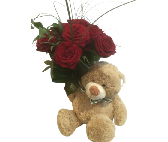 Bouquet rose rosse e orsetto peluche %e2%82%ac 70
