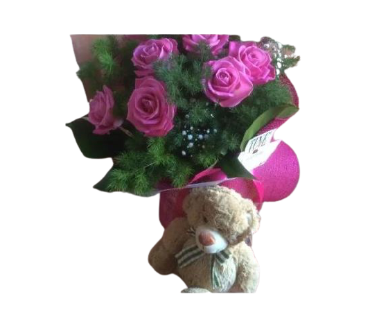 Bouquet rose fucsia e orsetto peluche