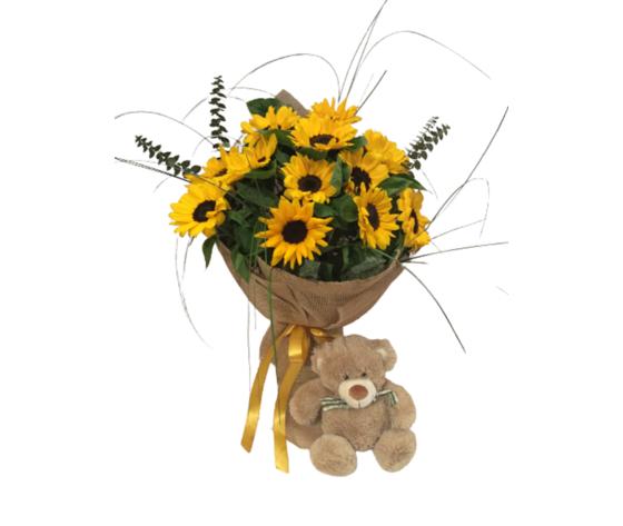 Bouquet girasoli con orsetto peluche %e2%82%ac