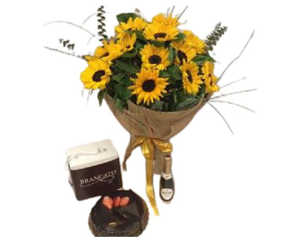 Bouquet girasoli con torta don camillo  con prosecco e 2 flute %e2%82%ac 100