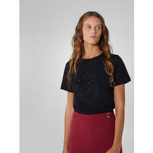 T-shirt regular fit in jersey soft con cristalli neri