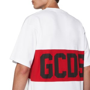 Cotton T-shirt with contrasting inlaid GCDS logo band white.