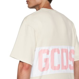 Cotton T-shirt with contrasting inlaid GCDS logo band beige.