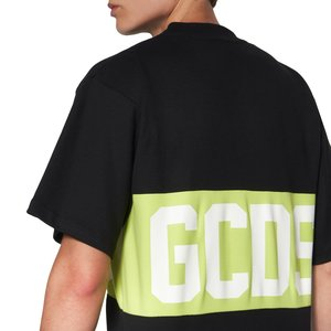 Cotton T-shirt with contrasting inlaid GCDS logo band verde.