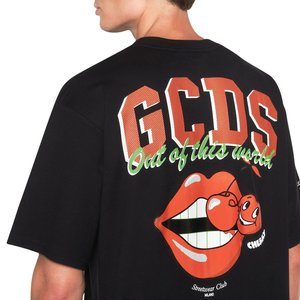 Cotton T-shirt GCDS logo print on front and print on back with glossy finish black.