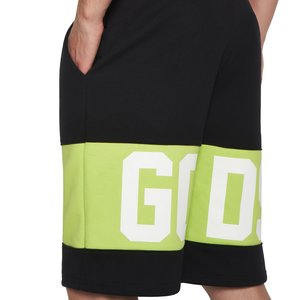 Short sweatpants with contrasting inlaid GCDS logo band lime.