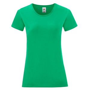 Maglietta da donna in cotone, colore verde prato con stampa personalizzata