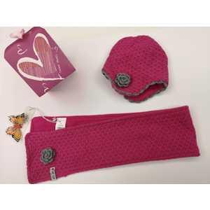 Set Sciarpa e Cappello Rosa fiore Bimba SWEET YEARS misura M