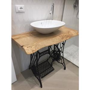 top bagno frassino brown-ash pezzo unico verniciato
