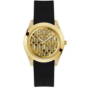 Orologio solo tempo donna in silicone con cassa dorata Guess Clarity GW0109L1