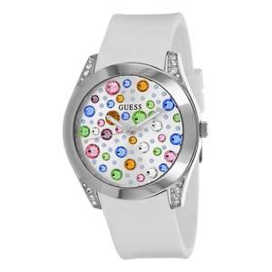 Orologio donna Guess Wonderlust con pietre e cinturino in silicone bianco W1059L