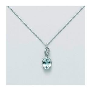 Collana Miluna Donna in Oro Bianco con Acquamarina e Diamanti CLD4268