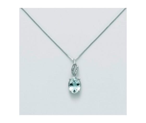 Cld4268collana miluna donna in oro bianco con acquamarina e diamanti