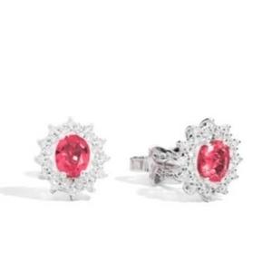 Orecchini Recarlo Classic Oro Bianco Diamanti e Rubino