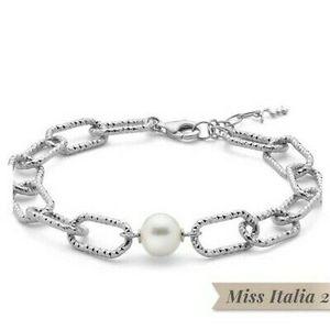 Bracciale miluna in argento con perla centrale collezione miss italia PBR3203B