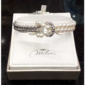 Bracciale Donna Miluna composto da 2 Fili Argento e 2 Fili Perle elastico PBR3178V