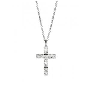 Girocollo Recarlo unisex con Croce In Oro Bianco E Diamanti P39CR882/018