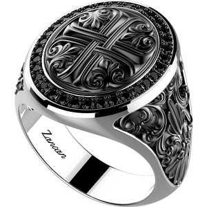 anello uomo in argento invecchiato Zancan Gotik e spinelli neri EXA150