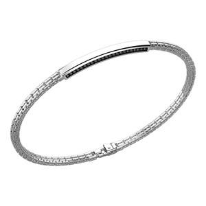 bracciale uomo zancan  in argento con targa e spinelli neri laterali ESB154