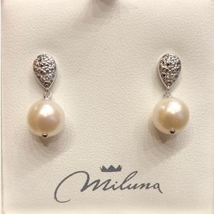 Orecchini in oro bianco 18kt con perle e diamanti Miluna PER2500
