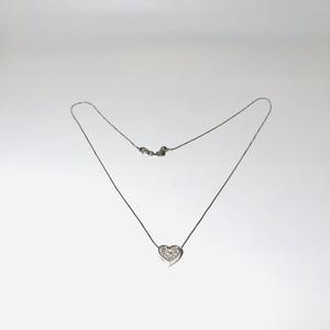 Pendente cuore con collana donna in oro bianco e diamanti