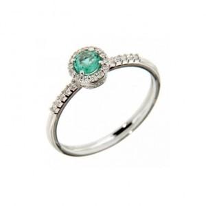 Anello donna con smeraldo e diamanti Recarlo collezione Primula R33CG244/SM
