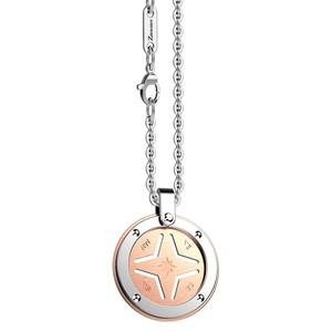 Collana con stella rosa dei venti color oro rosa in acciaio ZANCAN HI-TECK EHC13