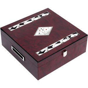 Scacchi Dama in legno rosso laccato con placca in argento bilaminato New Daniel