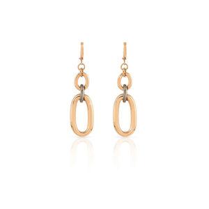 Orecchini pendenti ad anelli Unoaerre in bronzo rosa