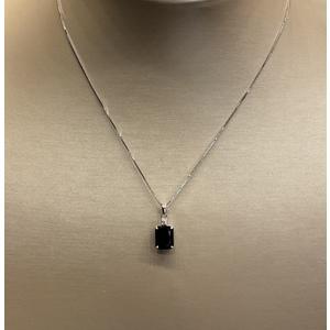girocollo con pendente zaffiro blu originale e diamante