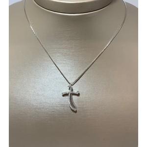 Collana con croce di diamanti in oro bianco