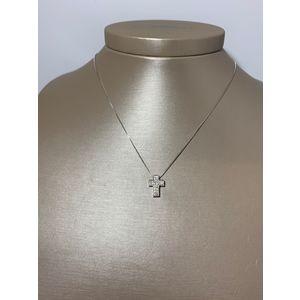Collana donna con croce di diamanti in oro bianco 18 kt