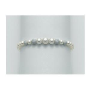 Bracciale con perle originali  Miluna e sfere in oro bianco PBR1771